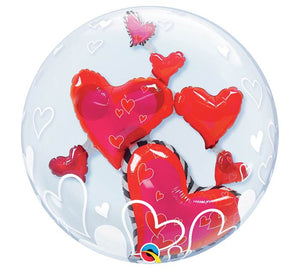 "24"" Floating Hearts Double Bubble"