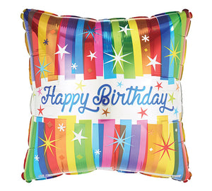 "17"" Happy Birthday Square Rainbow"