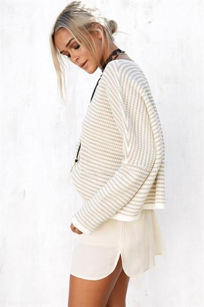 Load image into Gallery viewer, Beige Stripe Knit