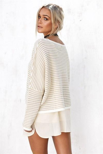Beige Stripe Knit