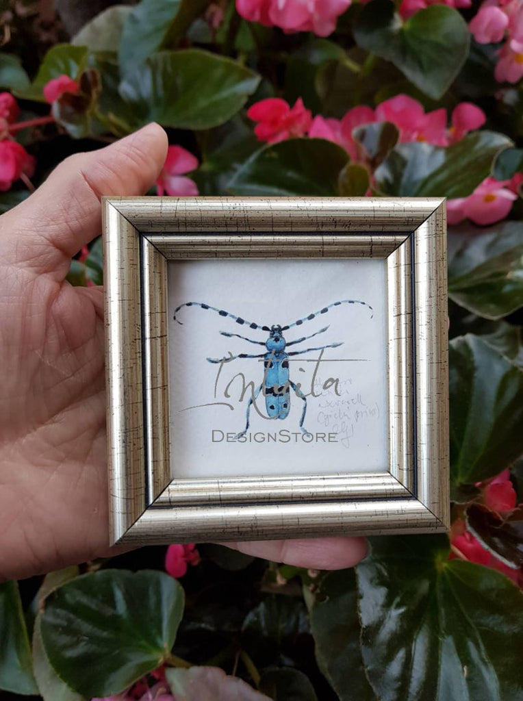 framed watercolor insect giclée print for Christmas in Intuita