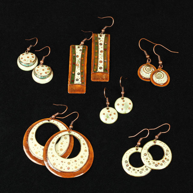 enamel on copper earrings