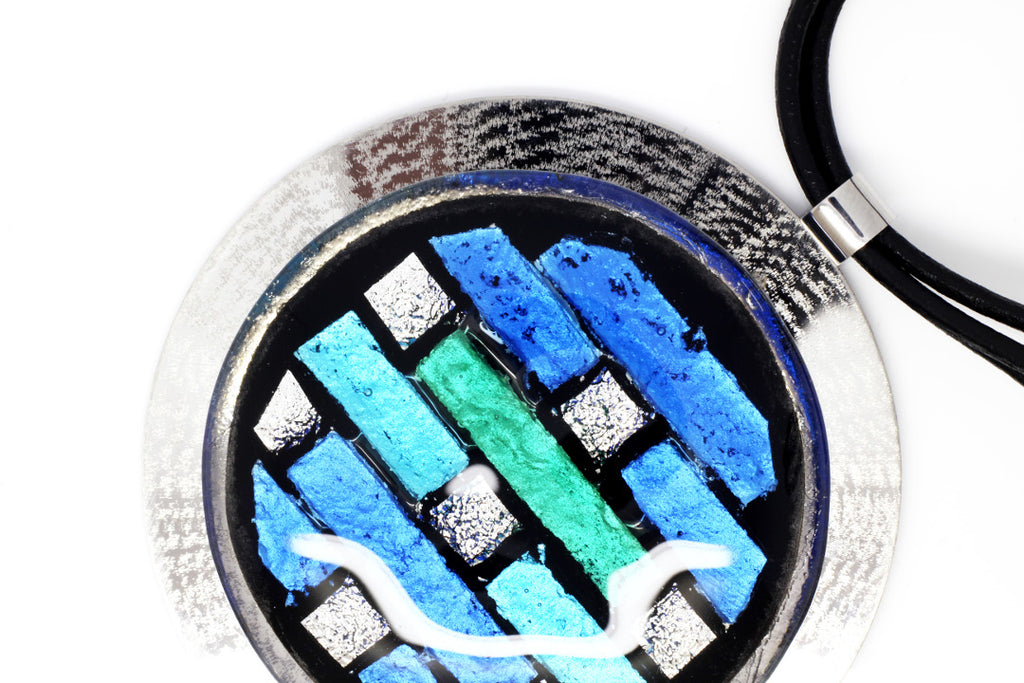 Pantone color of the year mosaic glass pendant