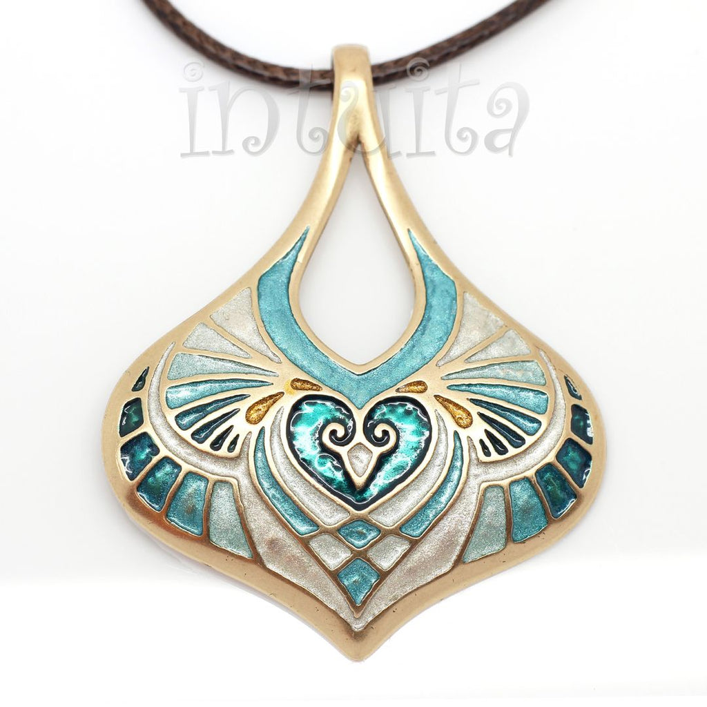 fantasy style hand cast bronze and cold enamel necklace for Christmas in Intuita