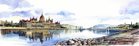 Hungarian Pairlament Watercolor painting
