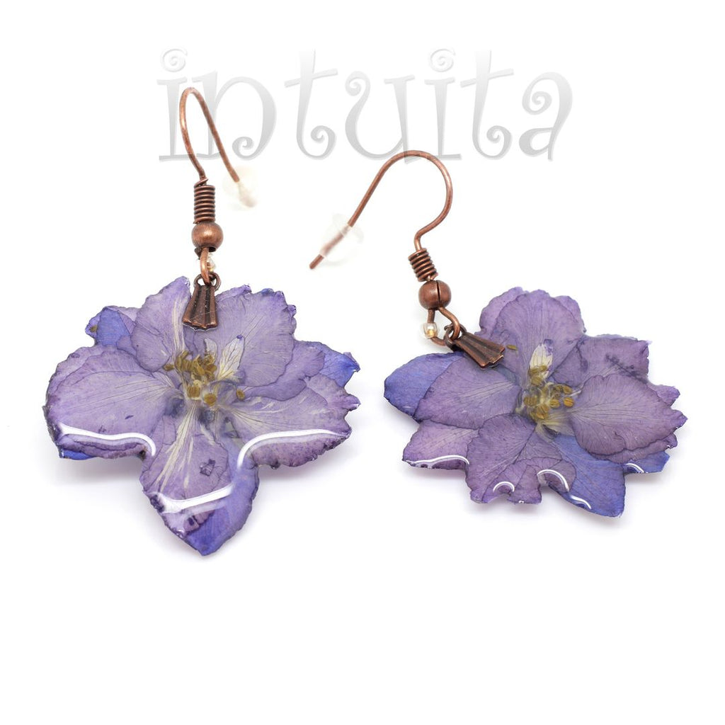 purple color real flower and resin earrings