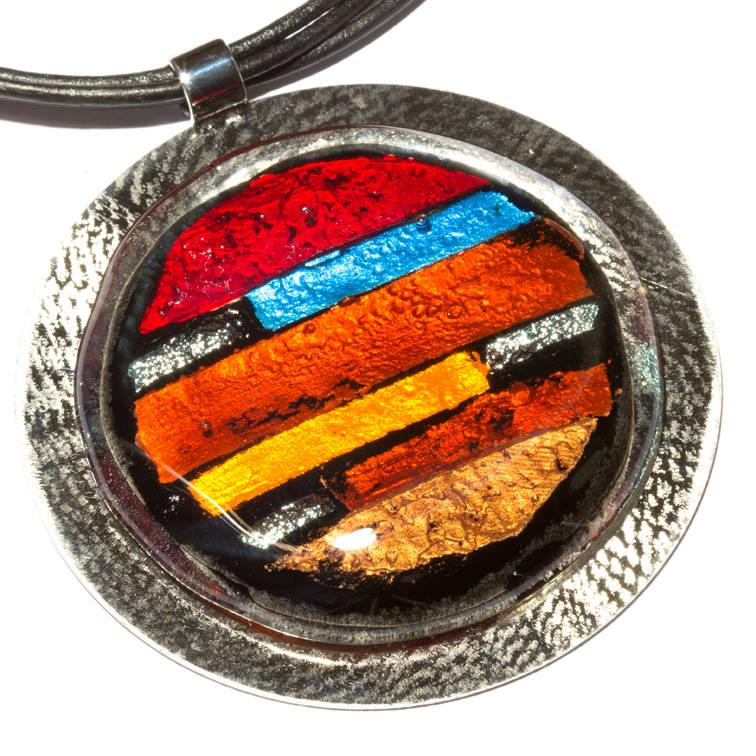 red, orange and blue fused glass statement pendant in Intuita