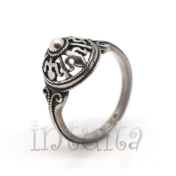 Filigree Design Sterling Silver Dome Shape Ring