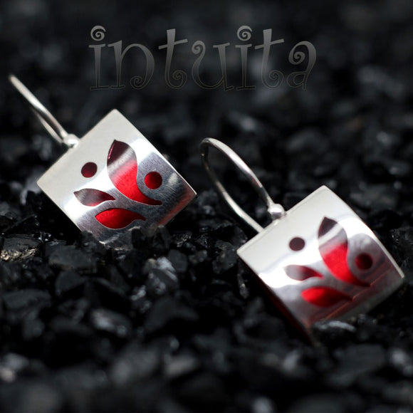 High Fashion Style Pillow Shape Chili Red Plexiglas and Sterling Silver Earrings