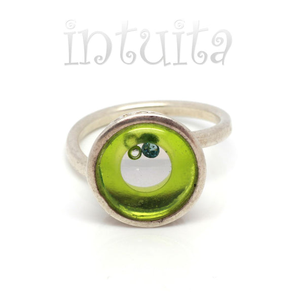 Adjustable Size Grass Green Glass Ring With Floating Diamond