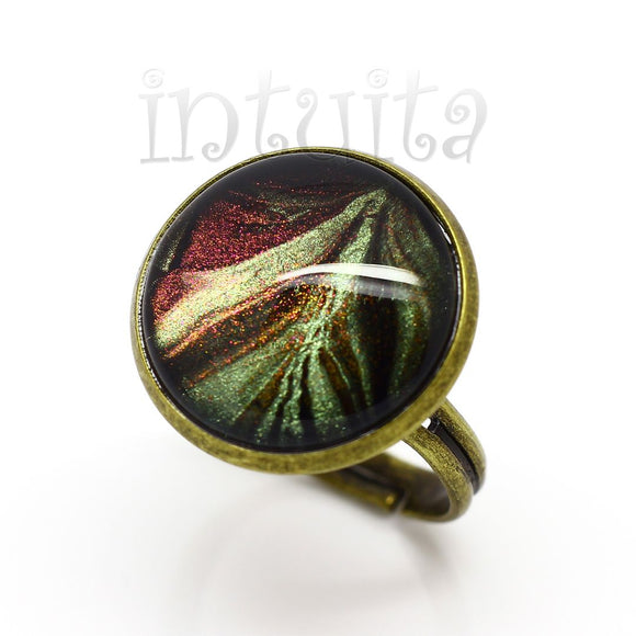 Fall Theme Brown and Green Handpainted Round Glass Ring