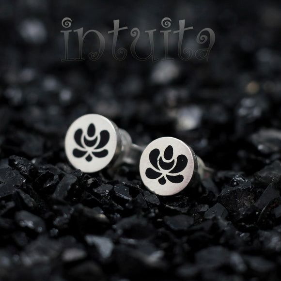 High Fashion Style Tiny Round Black Plexiglas and Sterling Silver Studs with Folk Art Motif