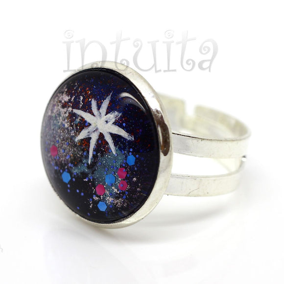 Galaxy Motif Handpainted Round Shape Glass Ring
