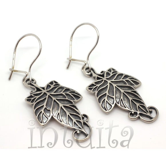 Delicate Grape Leaf Design Sterling Silver Dangle Earrings