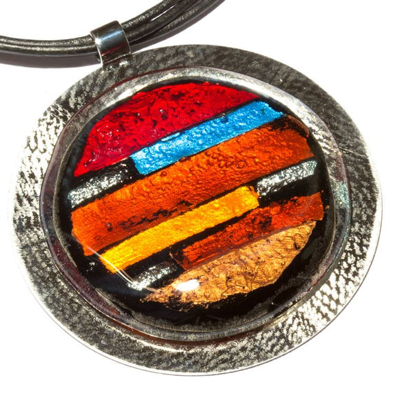 Large Round Statement Style Brown, Red And Blue Mosaic Fused Glass Necklace