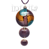 3 Dot Design Blue, Purple And Orange Enamel Pendant