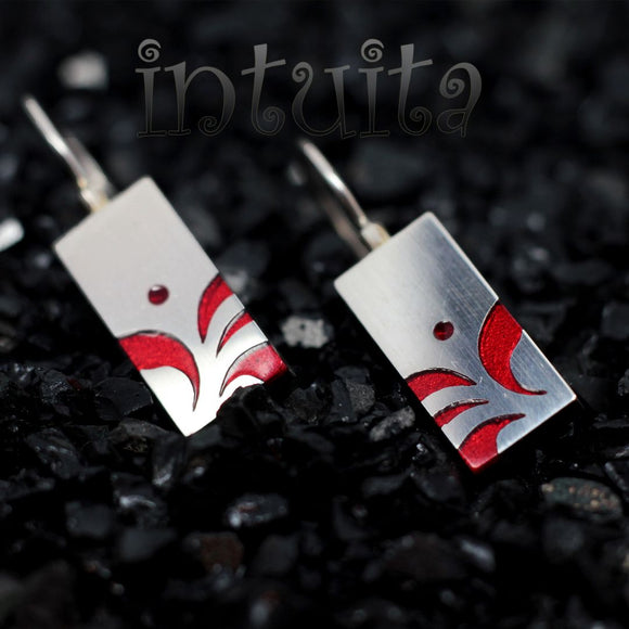 High Fashion Style Stylized Leaf Pattern Chili Red Plexiglas and Sterling Silver Earrings