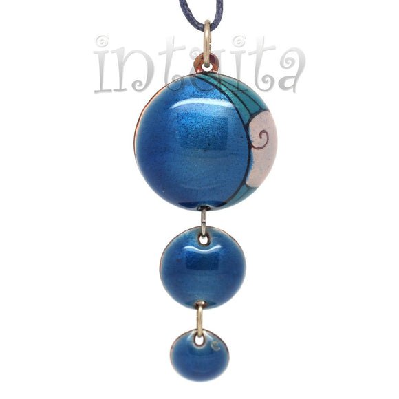 3 Dot Design Long Blue Enamel Pendant With Minimal Pattern