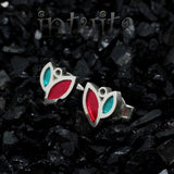 High Fashion Style Tiny Colorful Leaf Design Plexiglas and Sterling Silver Earrings