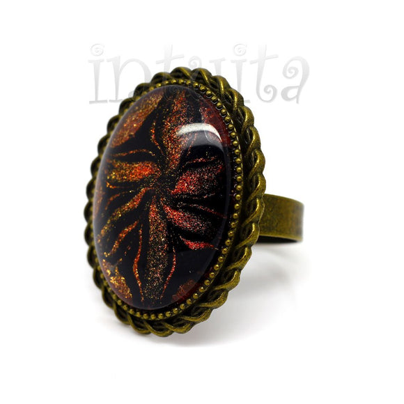 Golden Bronze Color Handpainted Oval Shape Glass Ring