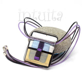 Blue Color Filigree Fantasy Style Bronze Necklace with Heart Design