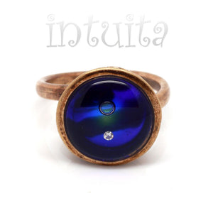 Adjustable Size Royal Blue Glass Ring With Floating Diamond