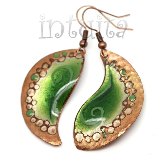 Green Enamel On Copper Dangles