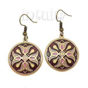 Claret and Pink Color Bronze Dangle Earrings with 4 Tulips Pattern