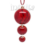 3 Dot Design Dark Cherry Red Enamel Pendant with Nature Pattern