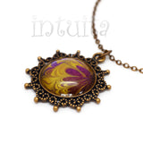 Purple And Orange Handpainted Round Shape Glass Necklace