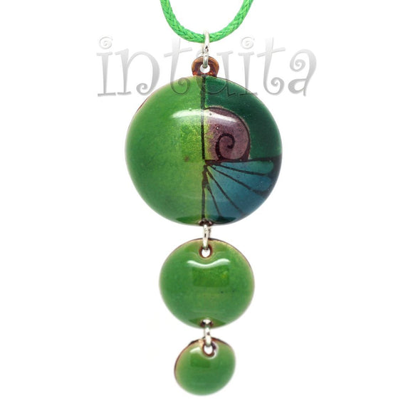 3 Dot Design Forest Green Enamel Pendant with a Touch of Blue and Purple