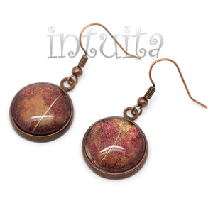 Autumn Leaf Themed Handpainted Glass Dangle Earrings