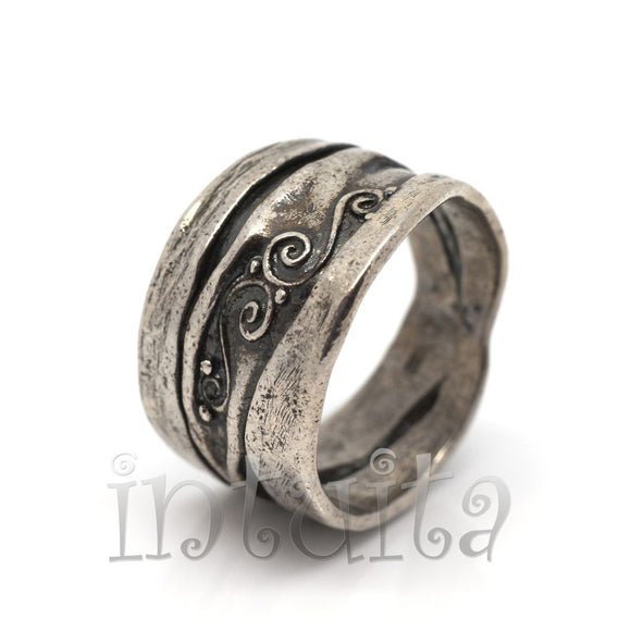 Antiqued Sterling Silver Ring Band With Tendrils