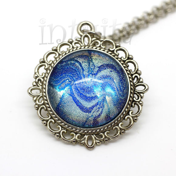 Iridescent Blue Handpainted Round Glass Necklace