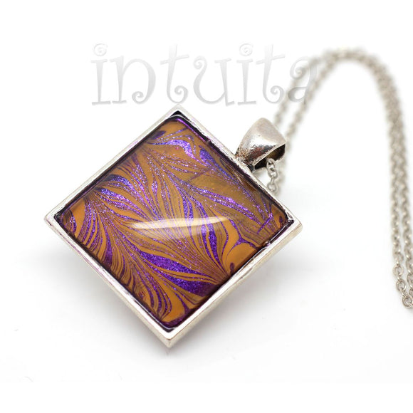 Purple And Orange Handpainted Square Shape Glass Necklace