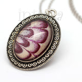Iridescent Pink And White Handpainted Oval Shape Glass Necklace