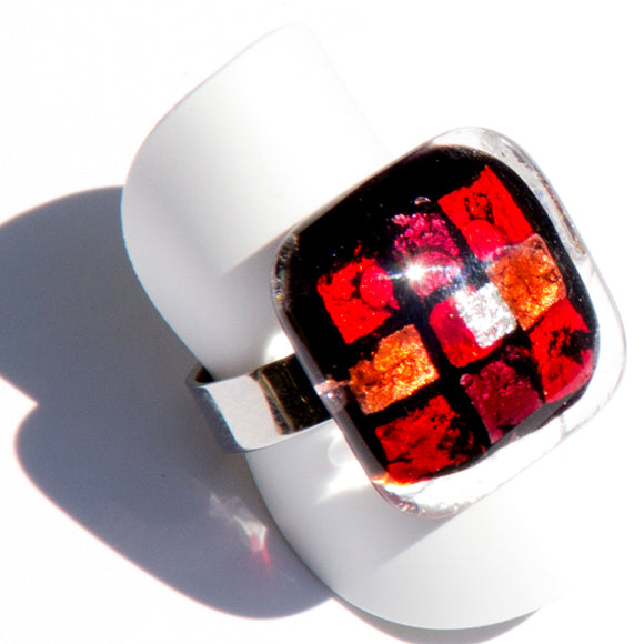 Black And Red Fused Glass Ring