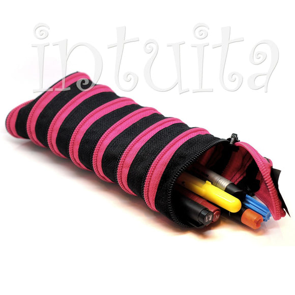 Black And Pink Zipper Pencil Case