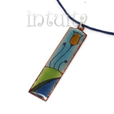 Blue, Green And Orange Enamel Necklace With Tulip Motif