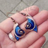 Royal Blue Enamel On Copper Dangles With Snail Design