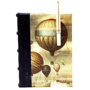 Large Leather-Bound Journal With Air Balloon Watercolor Print Cover