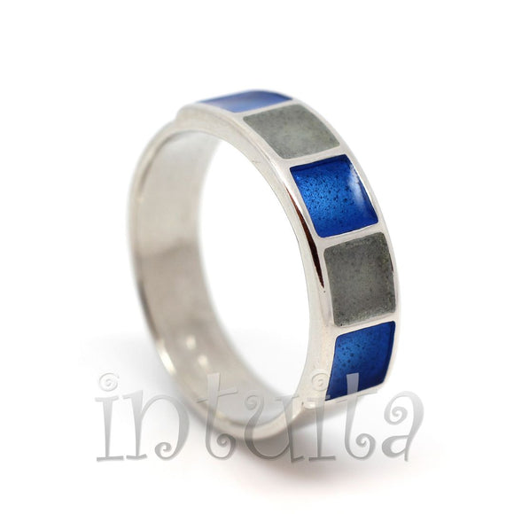 Minimalist Style Blue Enamel and Sterling Silver Ring