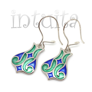 Delicate Tulip Design Green and Blue Enamel and Sterling Silver Dangle Earrings