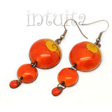 3 Dot Design Orange Long Enamel Dangle Earrings