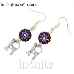 Glow-in-the-dark Dot Painted Glass Earrings With Kitty Charm
