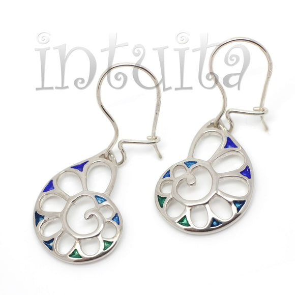 Blue and Green Shade Enamel and Delicate Nautilus Design Sterling Silver Dangle Earrings