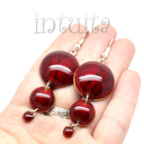 3 Dot Design Dark Red Long Enamel Dangle Earrings