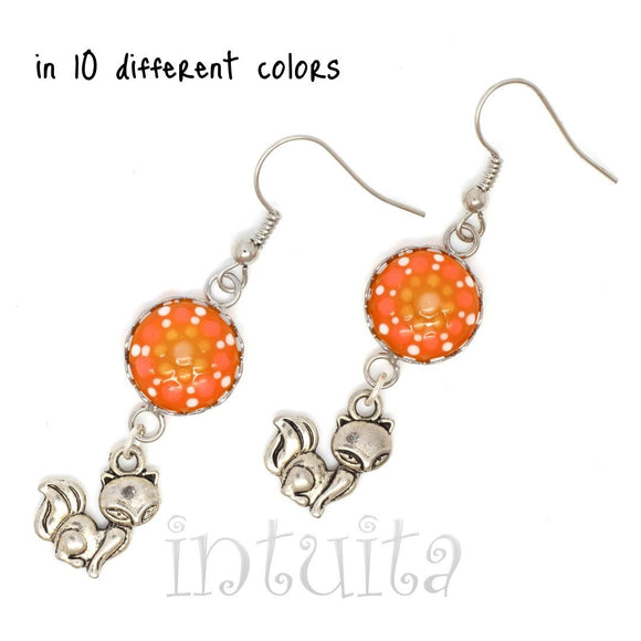 Glow-in-the-dark Dot Painted Glass Earrings With Fox Charm