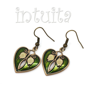 Green Heart Bronze Earrings with Lily of The Valley Flower Pattern