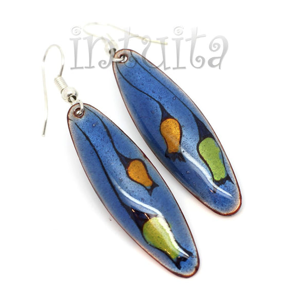 Blue Enamel Dangle Earrings With Colorful Flower Pattern